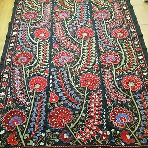 Uzbek black and red suzani.Tapestry wall hanging boho.Embroidered bedspread