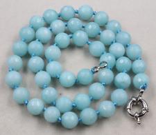 "New 8mm Faceted Blue Aquamarine Round Beads Gemstone Necklace 18"""