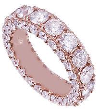 14k rose gold round cut diamonds band art deco modern eternity style 4.00ctw
