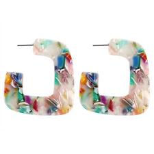 Fashion Women Acetate Acrylic Circle Geometric Statement Hoop Earrings Jewelry