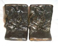 PAIR OF ANTIQUE CAST FIGURAL NATIVE AMERICAN INDIAN BOW & ARROW  BOOKENDS HEAVY