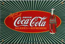 PLAQUE METAL publicitaire émaillée vintage USA  COCA COLA  - 30 X 20 CM EMAIL