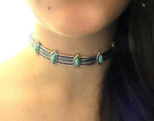 NATIVE AMERICAN NECKLACE, TURQUOISE CHOKER SILVER BLESSED WITH SAGE RITUAL