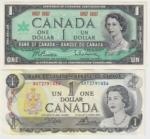 Canada $1 X 2 NOTE COMBO - $1  (1967) + 1 (1973) - aUNC BANK NOTES