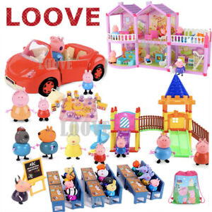 Peppa Pig Play Set Playground Car Figures House Gift Kid Toy Children Characters