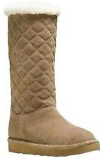 Michael Kors $195 11 Sandy Quilted Suede & Plush Shearling Dk Khaki Brown Boots