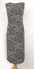 Roman originals black white beige ruched stretchy jersey smart dress size 14