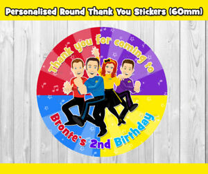 PRINTED 12x THE WIGGLES ROUND CIRCLE THANK YOU STICKERS (60MM) PARTY SUPPLIES