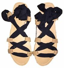 Billabong Eva Ankle Ribbon Tie Lace Up Sandals Black Orange UK 6 EU 39 BNIB