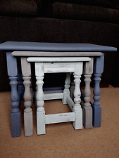 Shabby Chic Nest of Tables/Old Charm/Solid Oak/ 3 Different Colours