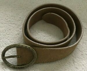 "Paul Smith Light Tan Suede Leather Belt  Large Oval Brass Buckle 30""  Waist"
