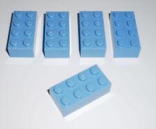 JEU JOUET ENFANT Personnage LEGO * Lot 5 BRIQUES 2X4 - BLEU CLAIR * !!