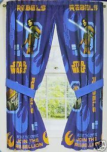 Disney Boys Star Wars Rebels Window Panels Curtain Set 42x63 New