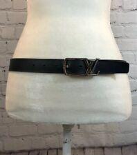 100% Authentic LOUIS VUITTON LV Initial Black Calfskin 85/34 Belt CT2157
