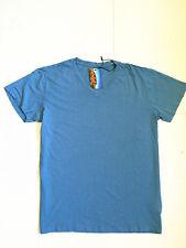 Men's Blue Casual Plain Top Short Sleeve V-Neck Sport Gym T-shirt