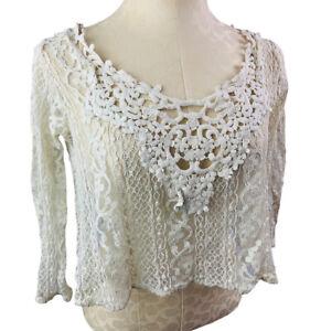 Medium Hollister Off White Lace Top Sheer Junior Women's Boho Chic 3/4 Sleeve