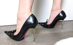 Gianmarco Lorenzi metal steel high heels stiletto shoes pointy toe pumps 37,5