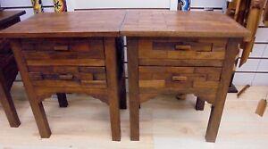TWO HANDMADE RECLAIMED TEAK WOOD  TABLE TWO DRAWER SIDE TABLE DESK  RUSTIC