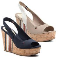 TOMMY HILFIGER scarpe sandali donna aperti casual tessuto pelle zeppa plateau