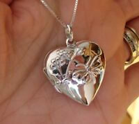 925 Sterling Silver Heart with Butterfy Locket Pendant Photo Keepsake - Boxed