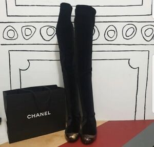 Chanel  Black Velvet Brooch Over Knee Flat Boots Sz. 38
