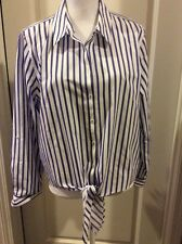 Coldwater Creek Blue Stripe Waist Tie Button Front Shirt 3 (16)