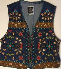 Hairston Roberson Ropa Embroidered Southwestern Native Denim Suede Vest Jacket L