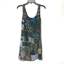 Desigual Prunis Dulcis Dress 36 Black Patchwork Sleeveless Layered Shift Art XS
