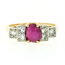 Antique 18k Gold & Platinum Oval Cabochon Star Ruby & Diamond Engagement Ring