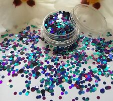 NAIL Art grosso * PAVONE * Blu Viola Puntini Cerchio Forma Glitter Spangle MIX Pot