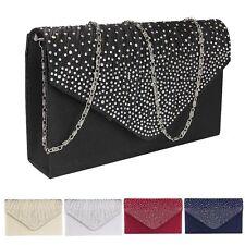 Women Satin Wedding Prom Clutch Bag Diamante Shoulder Bag Evening Handbag Purse