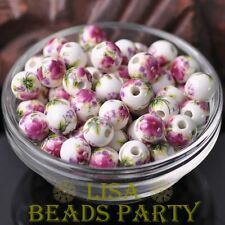 10pcs10mm Round Porcelain Ceramic Loose Spacer Beads Big Hole Violet Red Peony