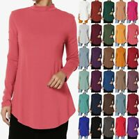 TheMogan S~3X Mock Neck Long Sleeve Shirttail Hem Jersey Top Relaxed Fit T-Shirt