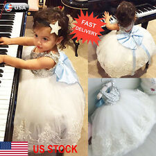 Princess Baby Kids Girl Bowknot Lace Floral Dress Christmas Party Formal Dresses