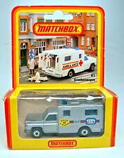"Matchbox Superfast Nr.41C Ambulance silber ""Paris-Dakar '81"" Sondermodell dt Box"