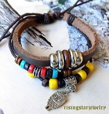 Women Night Owl Multi Wood Beads Fashion Surfer Characters Hip Hop Bracelet