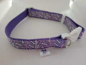 Purple adjustable dog collar with white bone print medium size