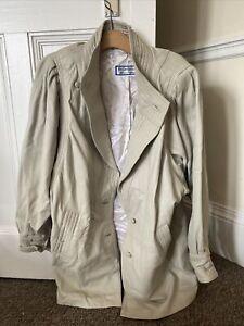 Vintage Beige Yves Saint Laurent 80s Leather Jacket Womens