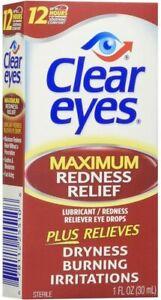 CLEAR EYES 1 fl.oz MAXIMUM REDNESS RELIEF EYE DROPS BURNING DRYNESS 30ml
