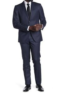 John Varvatos Star USA Bedford Men's Two Button Wool Blend Suit in Blue Size 40R