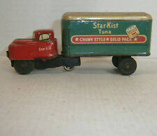 Vintage Japan Tin Litho friction powered (working) Star Kist Truck - 5in - exc!