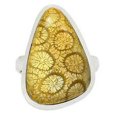Indonesian Fossil Coral 925 Sterling Silver Ring Jewelry s.9 31812R