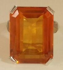 Beautiful Large Citrine 14k White Gold Ring size 7