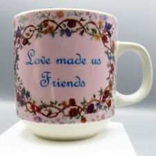 God Made Us Sisters Love Made Us Friends Coffee Mug Cup Pink Floral Birds Design