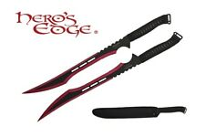 2 PC Set Full Tang 2 Tone RED Blade Straight Ninja Sword with Sheath NEW