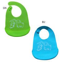 2PCS Animal Waterproof Soft Baby Bib Easily Wipes Clean Silicone Feeding Bibs US