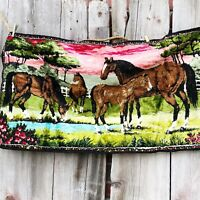 Vintage Horse Tapestry Foal Trees Flowers Pasture Denver Trading Co Lebanon Pink
