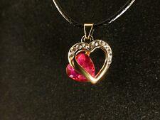 Anhänger 24 Karat Vergoldet Schmuck Herz Pink Love Strass Valentinstag Liebe