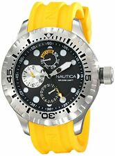 NEW NAUTICA SILVER TONE,YELLOW SILICONE BAND,MULTIFUNCTION WATCH-N15107G