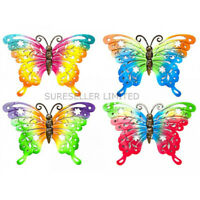 Rainbow Metal Butterfly Garden Hanging Wall Fence Art Plaque Ornament Decoration